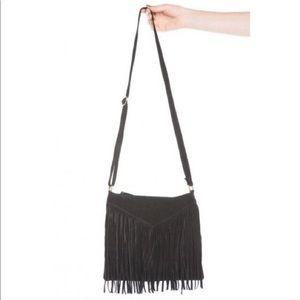 Brandy Melville Black Suede Fringe Bag